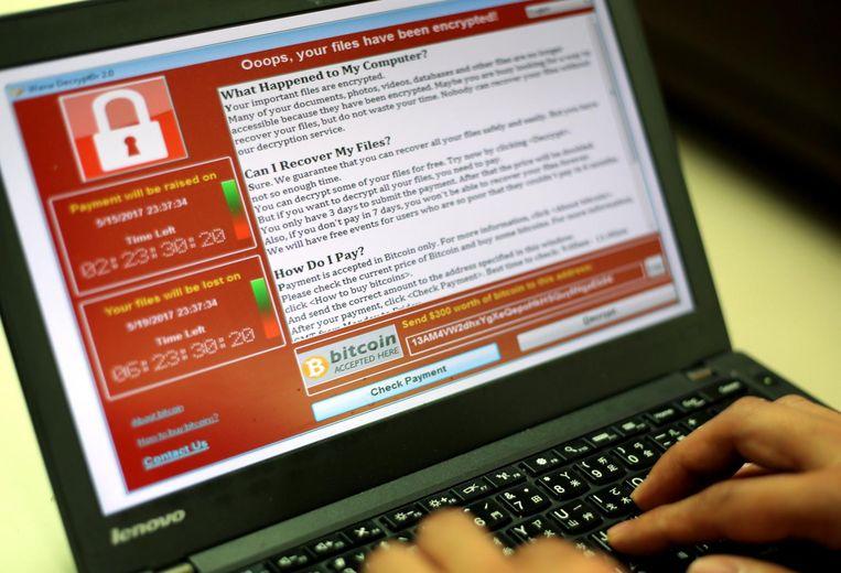 WannaCry begon vrijdagmiddag en verspreidde zich toen wereldwijd over netwerken waarvan een besmette computer deel uitmaakt. Beeld epa