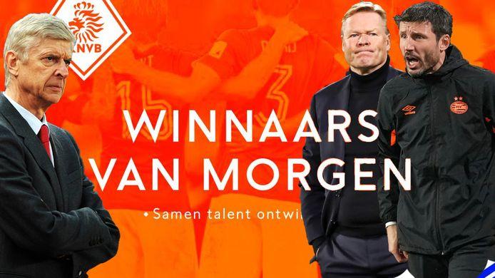 Het Rapport van de KNVB. Inzetjes: Arsène Wenger, Ronald Koeman en Mark van Bommel.