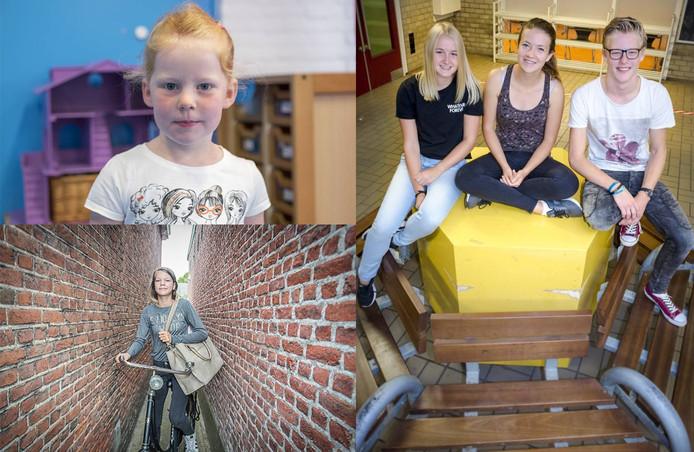 Met de klok mee: Saar begon maandag op 't Klinket in Koudekerke, Fae verruilde de basisschool voor Het Goese Lyceum en Voor Sydney, Vera en Arjen startte maandag het examenjaar.