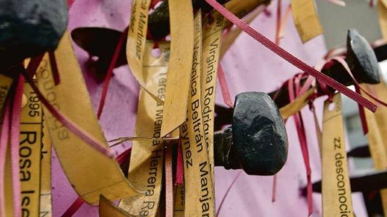Gemaakt bij een protest tegen de vrouwenmoorden, die de Mexicaanse stad Ciudad Juãrez al jaren teisteren. AFP. Beeld