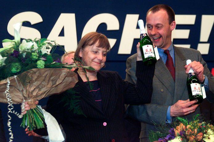 Friedrich Merz et Angela Merkel (avril 2000)