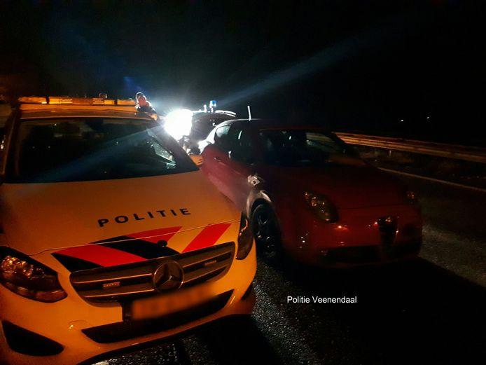 De politie wist de bestuurder vlak voor de Duitse  grens toch aan de kant van de weg te zetten.