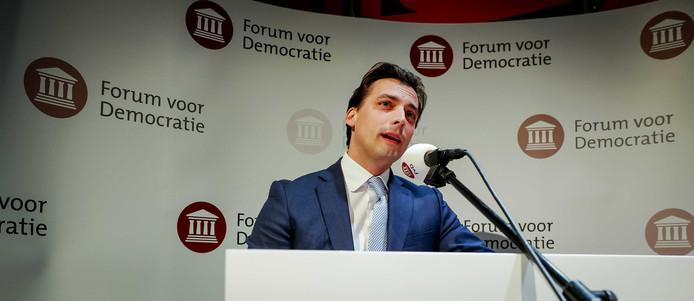 Forum voor Democratie-voorman Thierry Baudet tijdens de uitslagenavond van de Provinciale Statenverkiezingen en de waterschapsverkiezingen.