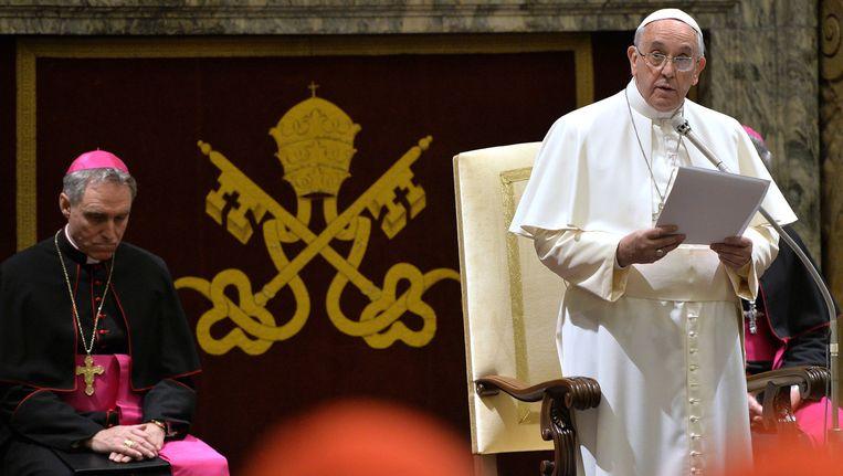 Paus Franciscus, maandagochtend tijdens zijn toespraak. Beeld ap