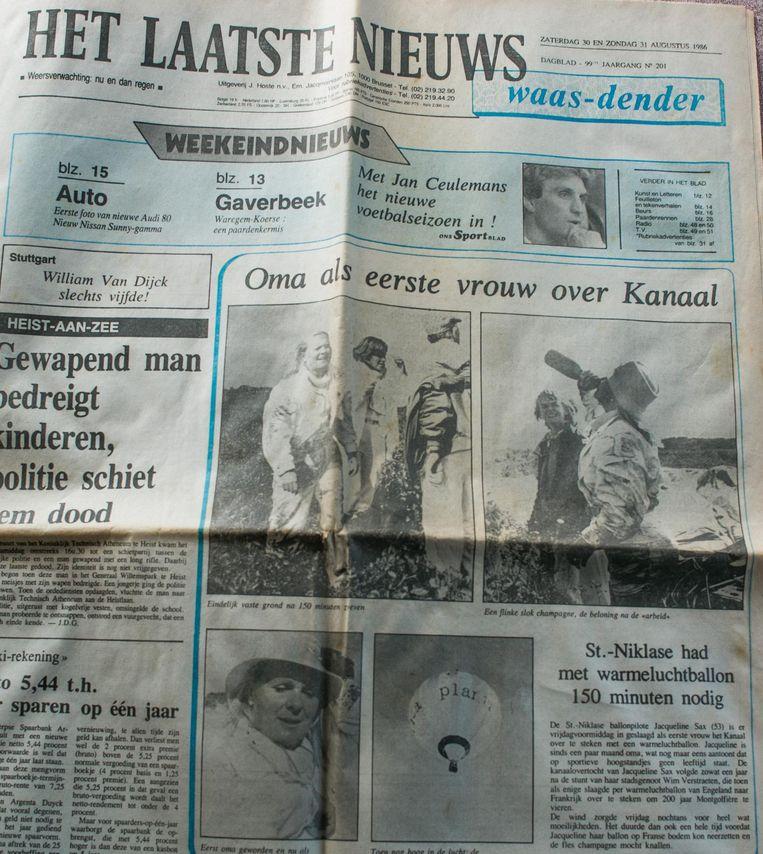 Jacqueline Sax stond in augustus 1986 op de voorpagina van deze krant.
