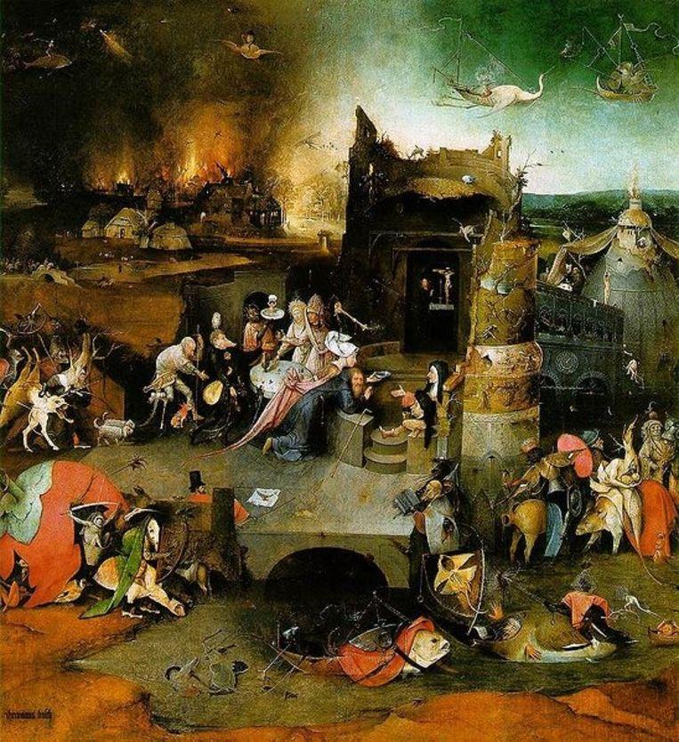 Het centrale paneel van de Verzoeking van de heilige Antonius van Hieronymus Bosch, het topstuk uit de vooroorlogse Gutmann-collectie, dat overigens niet gedwongen aan de Duitserse werd verkocht maar op tijd naar New York verhuisde. (Wikimedia) Beeld
