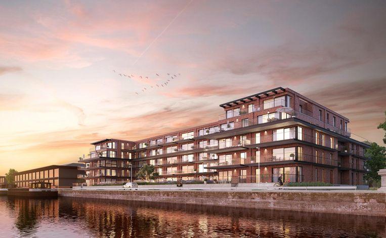 De nieuwe residentie aan de Voorhaven op de Muide met zicht op het water.