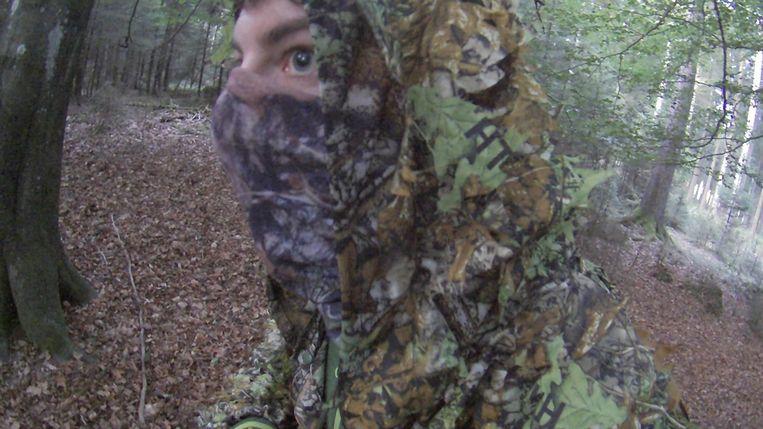 Frederik Thoelen, bijna onherkenbaar in zijn camouflagepak.