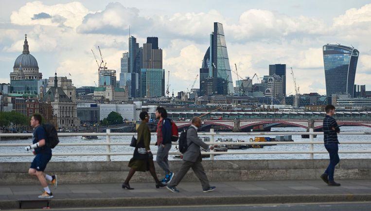 De skyline van de City vanaf Waterloo Bridge. Beeld afp