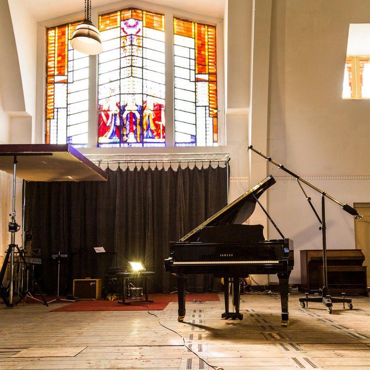De Bethlehemkerk op het Zwanenplein in Noord heeft volgens Ruben Hein een verbazingwekkend goede akoestiek. Beeld Tammy van Nerum