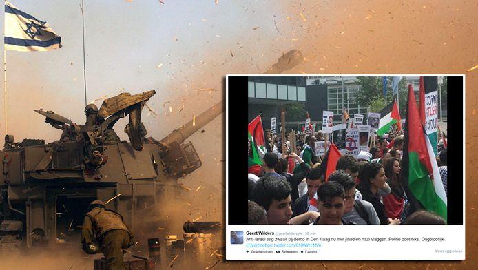Israelische artillerie bij de grens met Gaza. In kader een van de tweets van Geert Wilders.