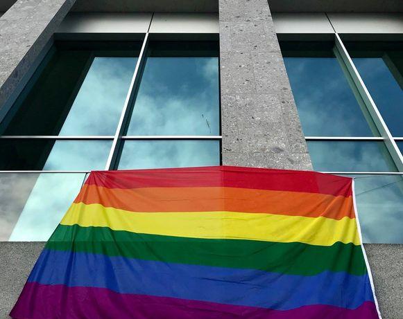 De regenboog aan dienstencentrum Leiespiegel.