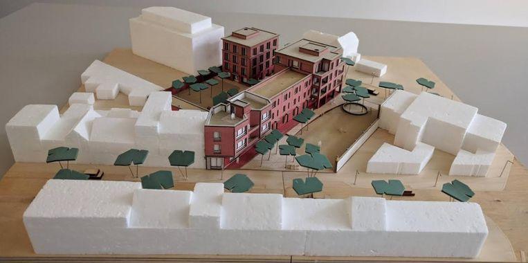 Maquette van hoe de site van De Perenpit er in de toekomst zal uitzien.