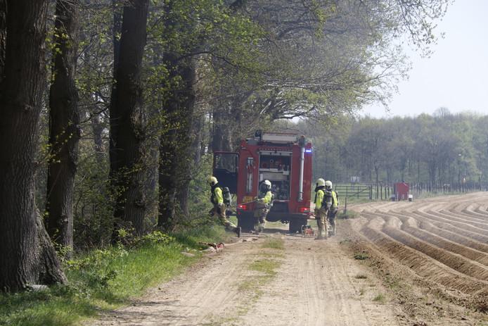 De brandweer is ter plaatse om de brand te blussen.