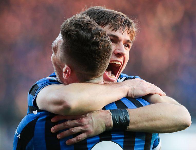 Voormalig eredivisie spelers De Roon (rechts) en Gosens.  Beeld Getty Images