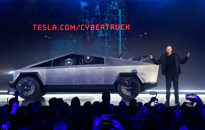 Tesla-CEO Elon Musk enkele dagen geleden tijdens de presentatie van de Cybertruck in Hawthorne, Californië. Tesla heeft inmiddels al 250.000 bestellingen binnen, zegt hij