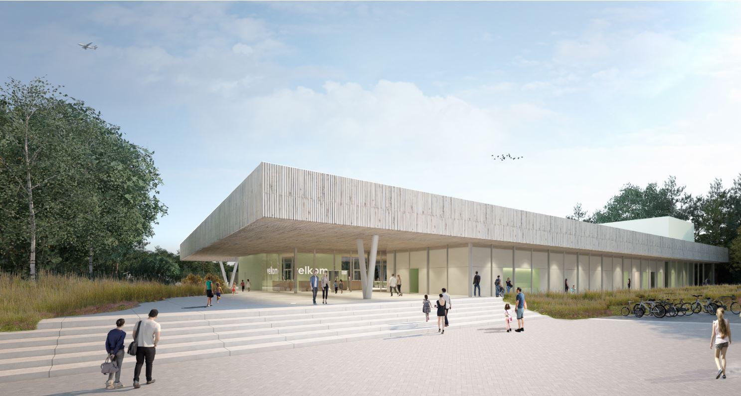 Een impressie van het nieuwe binnenbad De Koerbelt. De bouw begint volgend jaar.