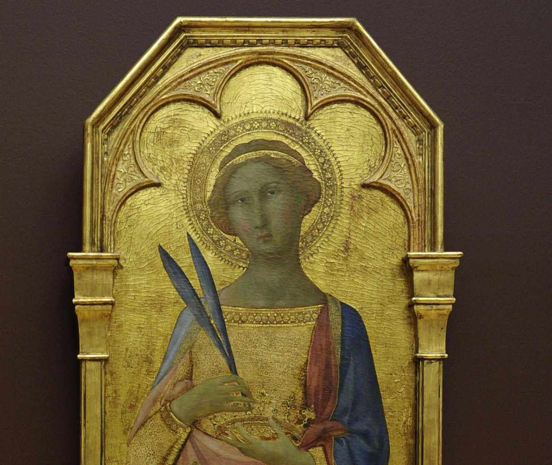De heilige Corona op een altaarstuk uit de kathedraal van Siena, circa 1350, nu in het nationaal kunstmuseum in Kopenhagen.