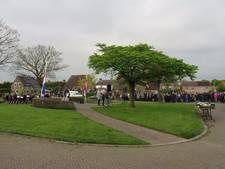 Witte rozen bij monument in Nieuwendijk