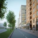 Een impressie van hoe gebouw Donna, naast het Klokgebouw op Strijp-S in Eindhoven, er uit kan gaan zien. De eerste verdieping bliljft aan de straatkant open; hier komen publieke functies.