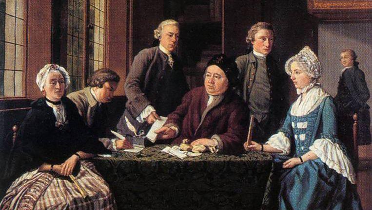 Het schilderij Het huwelijkscontract van Jan Josef Horemans de Oude uit 1768 toont het ondertekenen van een ondertrouwakte op een notariskantoor. Beeld