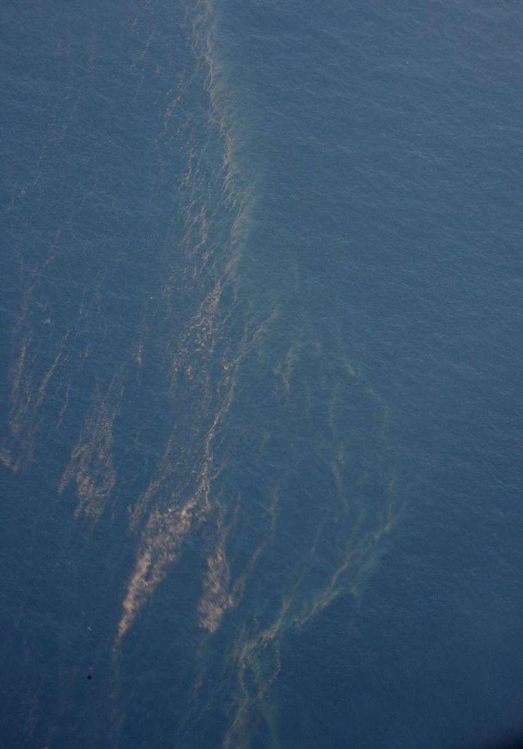 Zondag aangetroffen oliesporen. Beeld afp