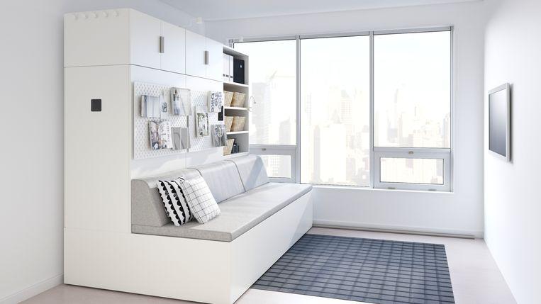 Met het Rognan-systeem maak je van je living je slaapkamer. Via een rail kan de kast zich bewegen en komt er aan de achterkant een bed tevoorschijn.