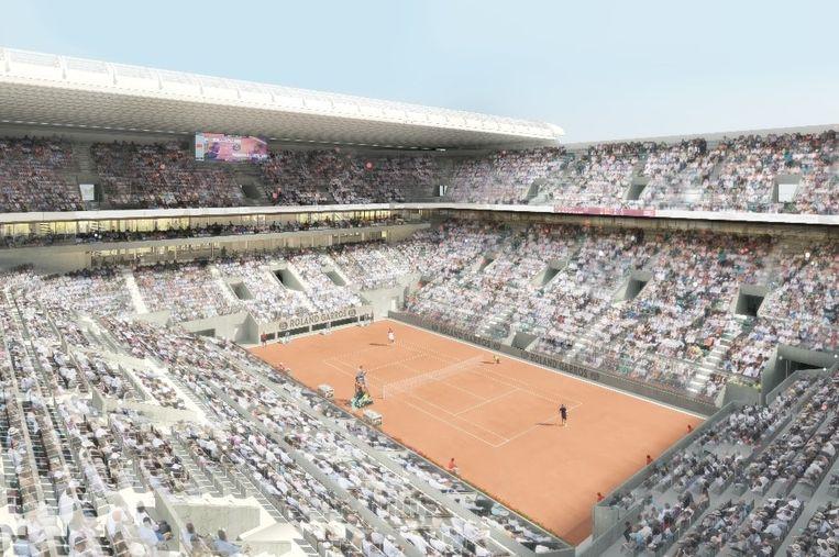 Een artist's impression van Roland Garros met een verschuifbaar dak. Beeld