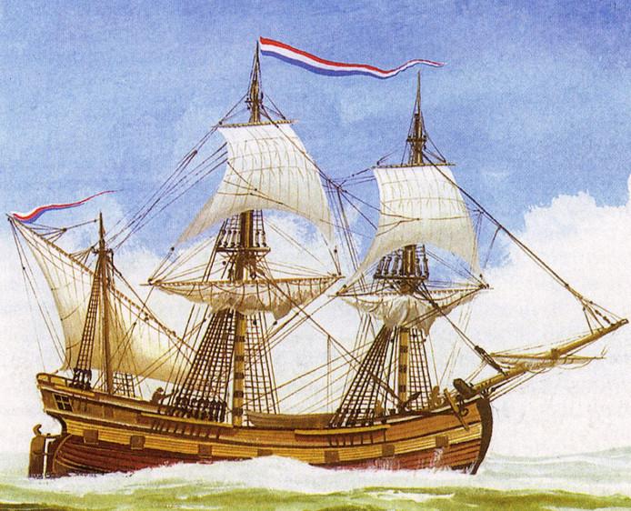 Een fluitschip van de VOC. De Slot van Capelle zou er zo uitgezien moeten hebben.