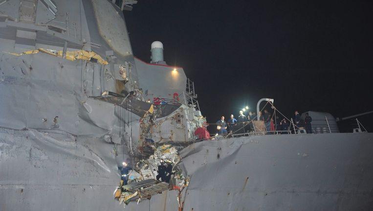 De schade aan de USS Porter. Beeld epa