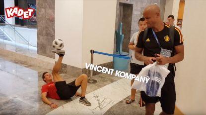 Hier is de Belgisch kampioen Panna weer! Freestylen en dansen met de Rode Duivels in Rusland