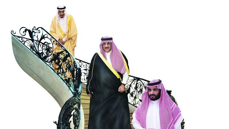 Van boven naar beneden: koning Salman, kroonprins Mohammed bin Nayef en vicekroonprins Mohamed bin Salman. Beeld Corbis, AFP, EPA