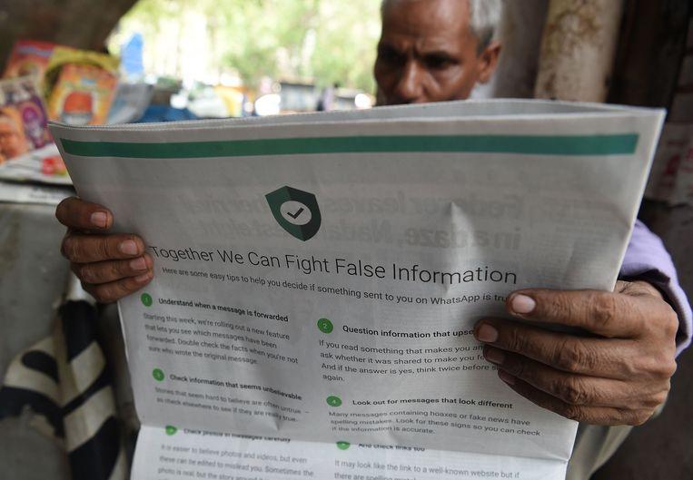 WhatsApp tracht de Indiase bevolking te informeren over de gevaren van WhatsApp.