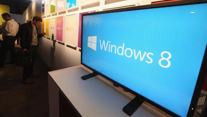 Het logo van Windows 8 bij de lancering in New York.