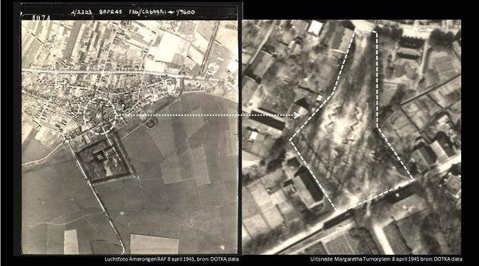 Luchtfoto van Amerongen met een uitsnede van het Margaretha Turnorplein. Gemaakt door Royal Air Force 1945