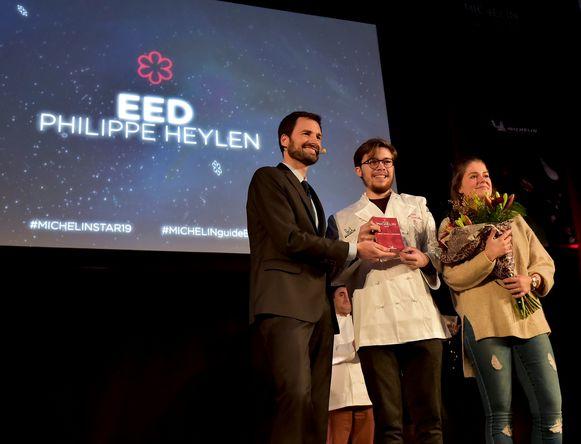 Philippe Heylen neemt de ster in ontvangst.