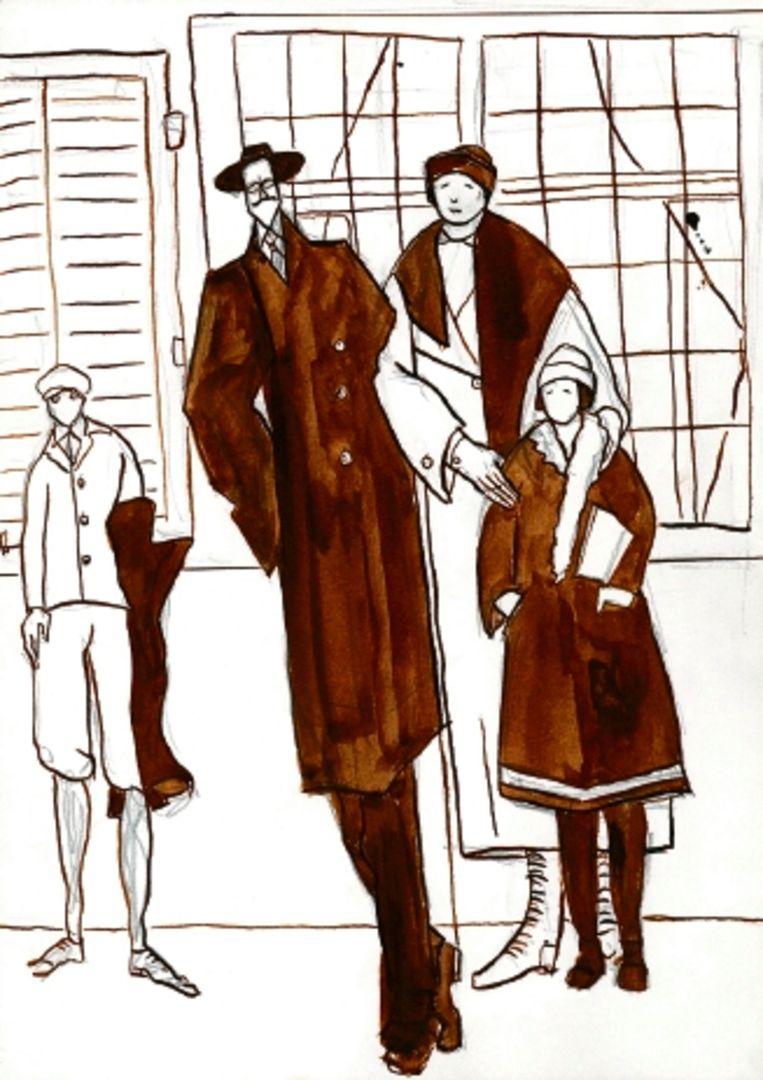 Joyce met vrouw en kinderen in ZÃ¿rich. ( Illustratie: Erik Bindervoet) Beeld