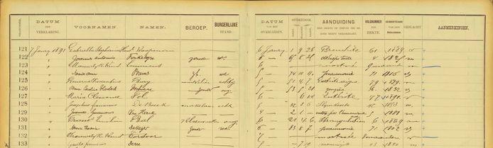Het doodsoorzakenregister van Antwerpenaren tussen 1820 en 1946.