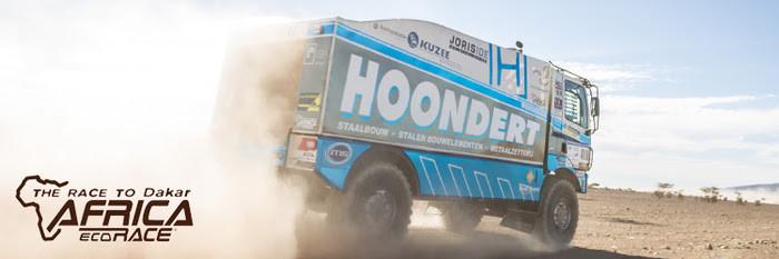 De truck van Adwin Hoondert voor de Africa Eco Race.