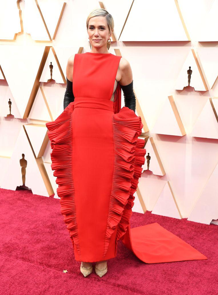 Kristen Wiig in 'de lasagnejurk'. Beeld WireImage