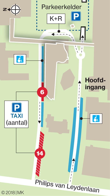 De taxiparkeerplaatsen bij het Radboudumc.