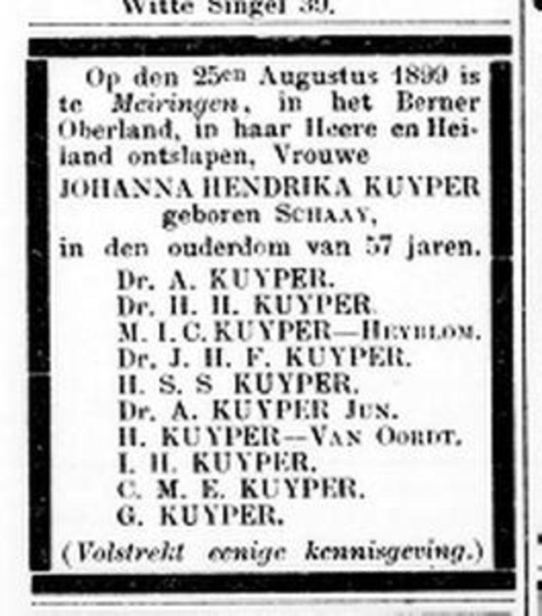 Rouwadvertentie dochter A. Kuyper Beeld