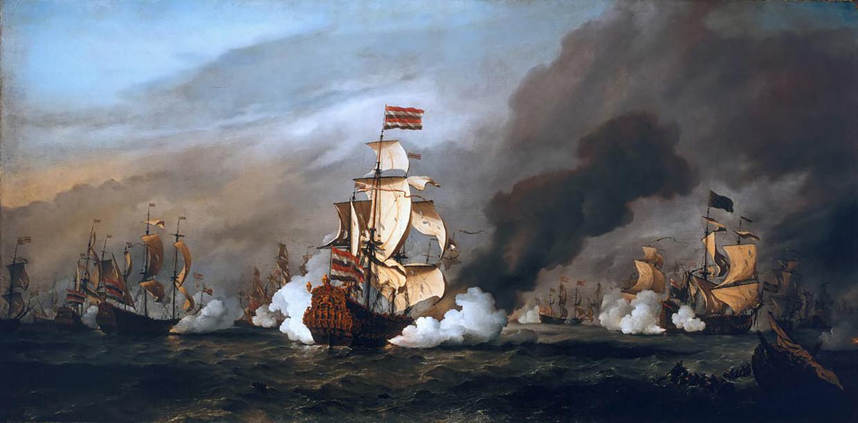 De Slag bij Kijkduin in 1673, een zeeslag tussen Nederlandse zeevaarders en de Frans-Britse vloot, geschilderd door Willem van de Velde.  Beeld  Collectie National Maritime Museum, Londen