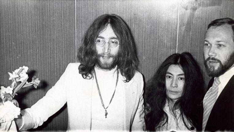 John Lennon en Yoko Ono in Amsterdam, 1969. Beeld anp