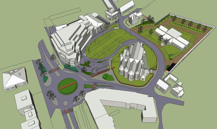 landschapsarchitect Jo De Weerdt tekende een toekomstplan uit, met links een imposant nieuwbouwcomplex en rechts een parking achter de bibliotheek.