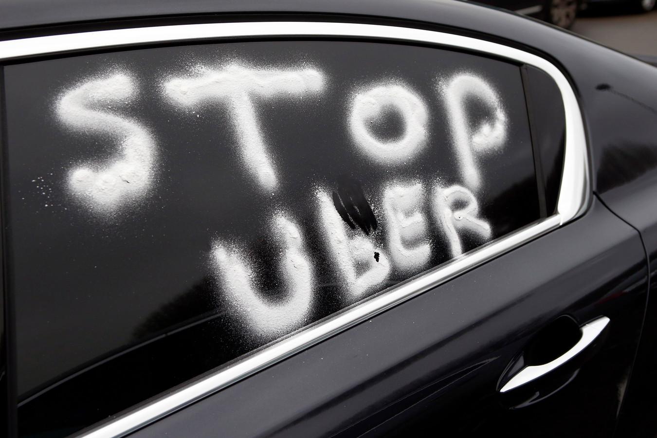 Protest tegen Uber in Parijs.