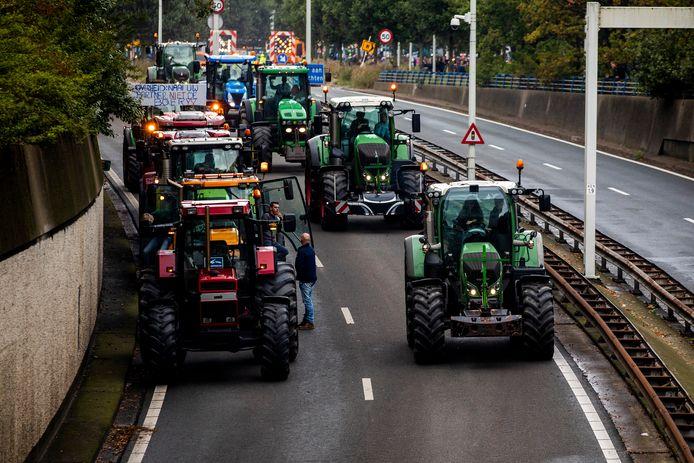 Boeren onderweg naar de actie op het Malieveld.