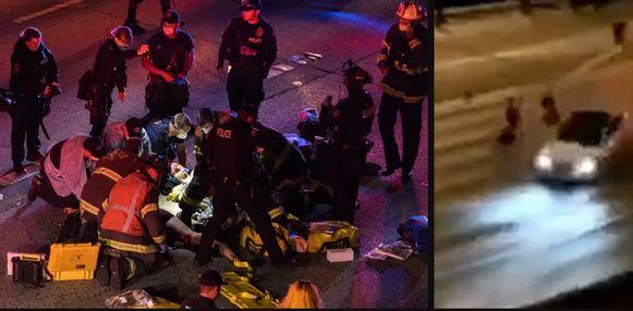 Links: hulpverleners proberen het leven van een slachtoffer te redden. Rechts: het moment waarop de twee vrouwen in de lucht gekatapulteerd werden.