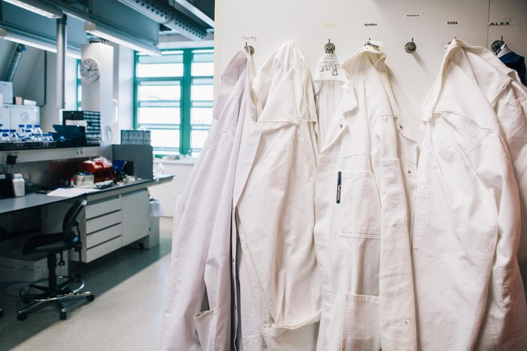 Labjassen in het biologisch laboratorium van de Radboud Universiteit in Nijmegen.  Beeld Marcel Wogram / de Volkskrant