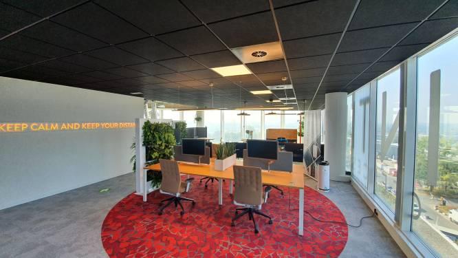 Waar ronde tapijten afstand van 1,5 meter visueel aangeven: Intervest ontwikkelt coronaproof kantoor